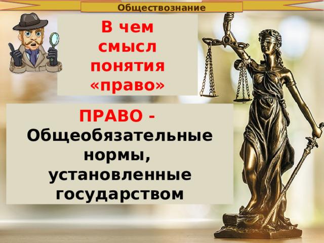 Обществознание В чем смысл понятия «право» ПРАВО - Общеобязательные нормы, установленные государством
