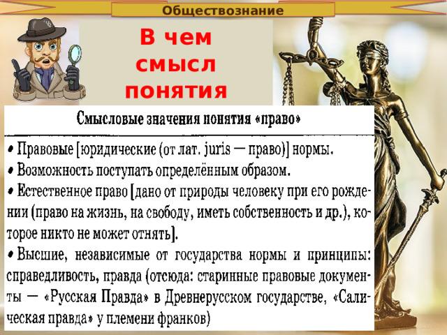 Обществознание В чем смысл понятия «право»