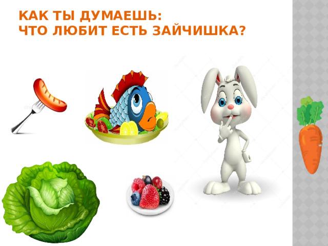 Как ты думаешь:  что любит есть зайчишка?